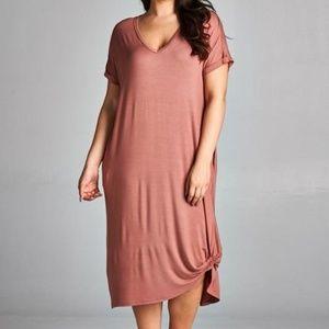 daeb48a435629 ... FLORAL RUFFLED SLEEVE TOP Plus Size Side Twist Dress Blue Kalliope Dress.  loulougirls